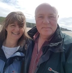 Bronwyn and Steve hosts at The Lodge Brecon B&B
