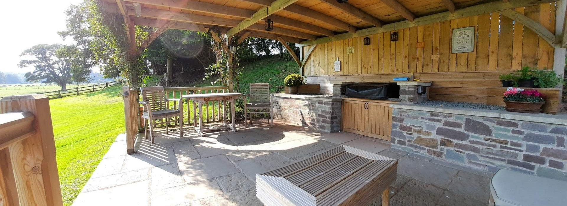 Pergola and BBQ area at the Lodge Brecon B&B